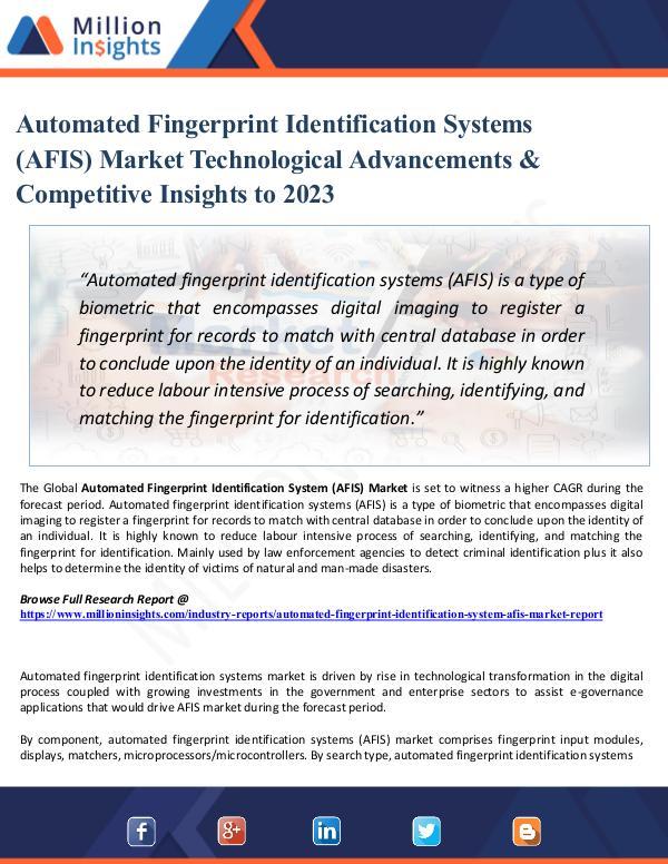 Chemical Market ShareAnalysis Automated Fingerprint Identification Systems (AFIS