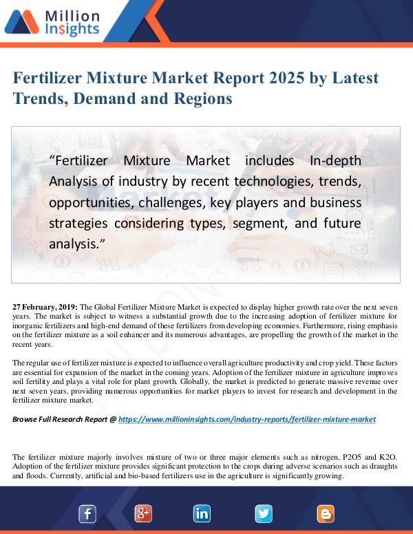 MarketReports Fertilizer Mixture Market Size Analysis, Segmentat