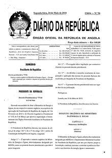 Estatuto Orgânico do Ministério da Energia e Águas
