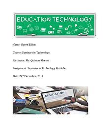Geron Elliott Seminar In Technology Portfolio