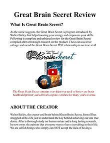 The Great Brain Secret PDF / Book Protocol Free Download