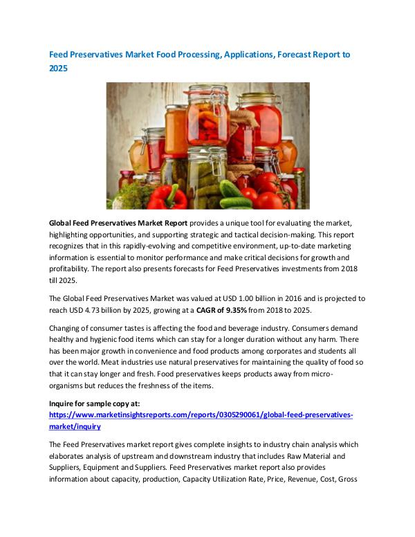 Feed Preservatives Market Food Processing, Applica
