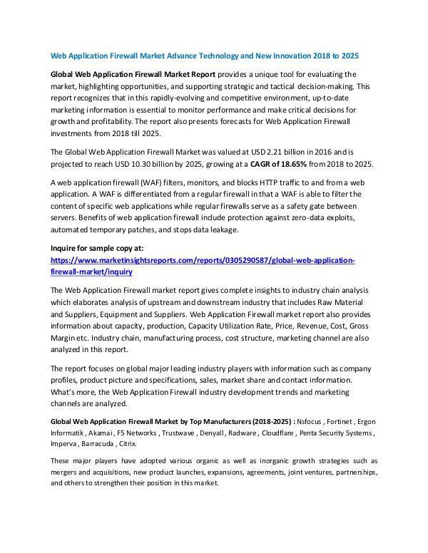 Market Research Web Application Firewall Market Advance Technology