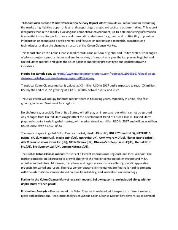 Market Research Colon Cleanse Market Therapeutic Survey Reviews, A