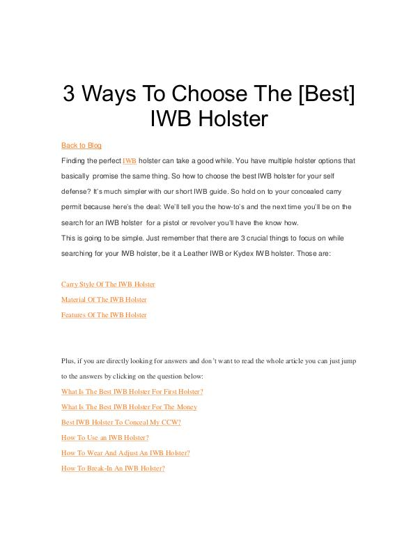 3 Ways To Choose The [Best] IWB Holster 3 Ways To Choose The Best IWB Holster