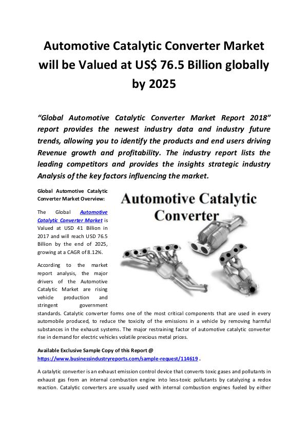 Automotive Catalytic Converter Market 2018 - 2025