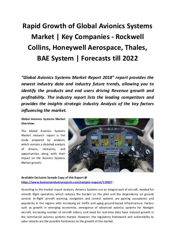 Avionics Systems Market 2018 - 2022