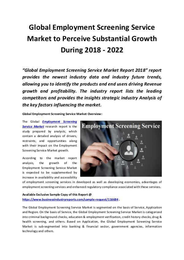 Employment Screening Service Market 2018 - 2022