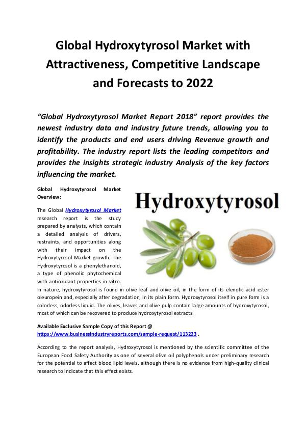 Global Hydroxytyrosol Market 2018 - 2022
