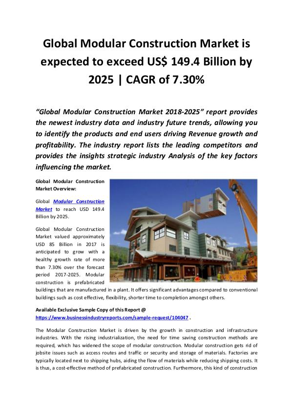 Global Modular Construction Market 2018 - 2025