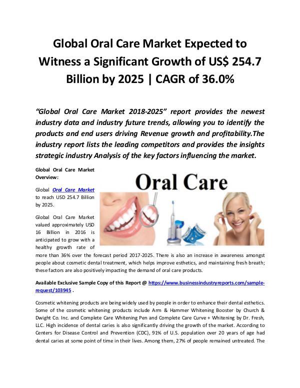 Global Oral Care Market 2018 - 2025