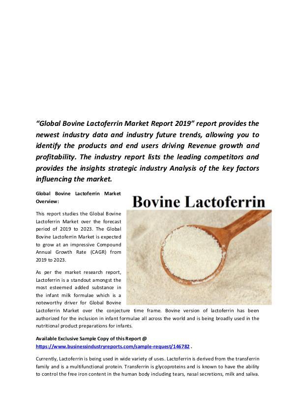 Global Bovine Lactoferrin Market 2019