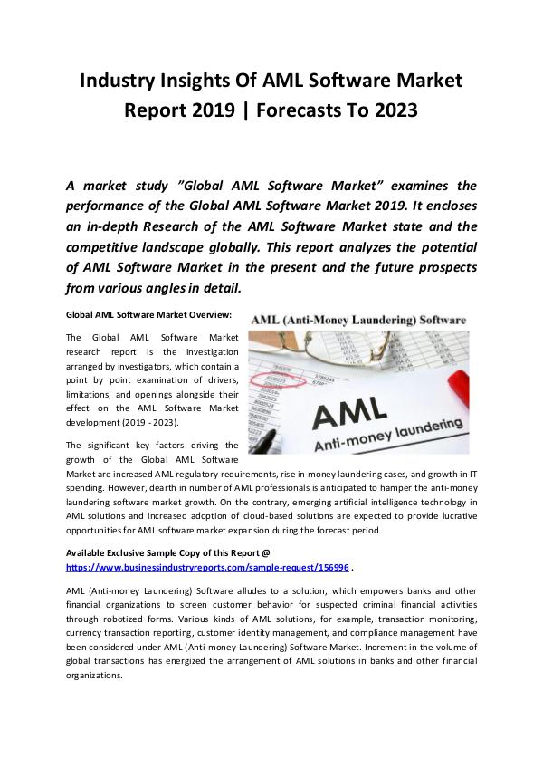 Global AML Software Market Report 2019
