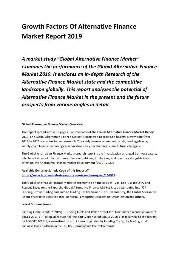 Global Alternative Finance Market Report 2019