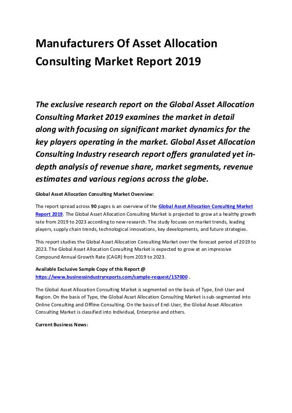 Global Asset Allocation Consulting Market Report 2