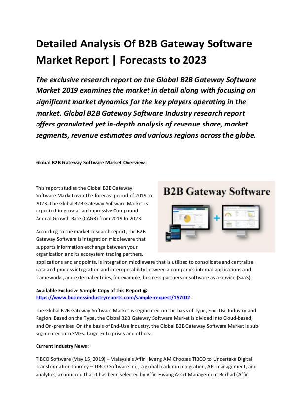 Global B2B Gateway Software Market Report 2019