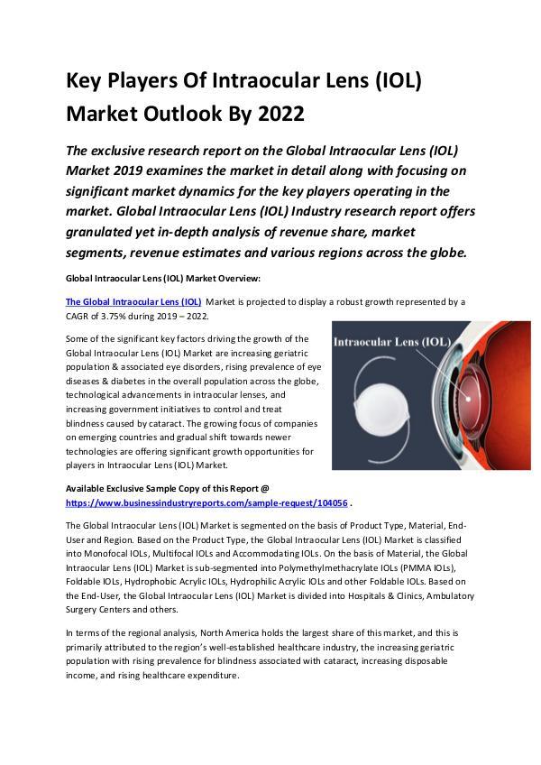 Global Intraocular Lens (IOL) Market Outlook 2017-