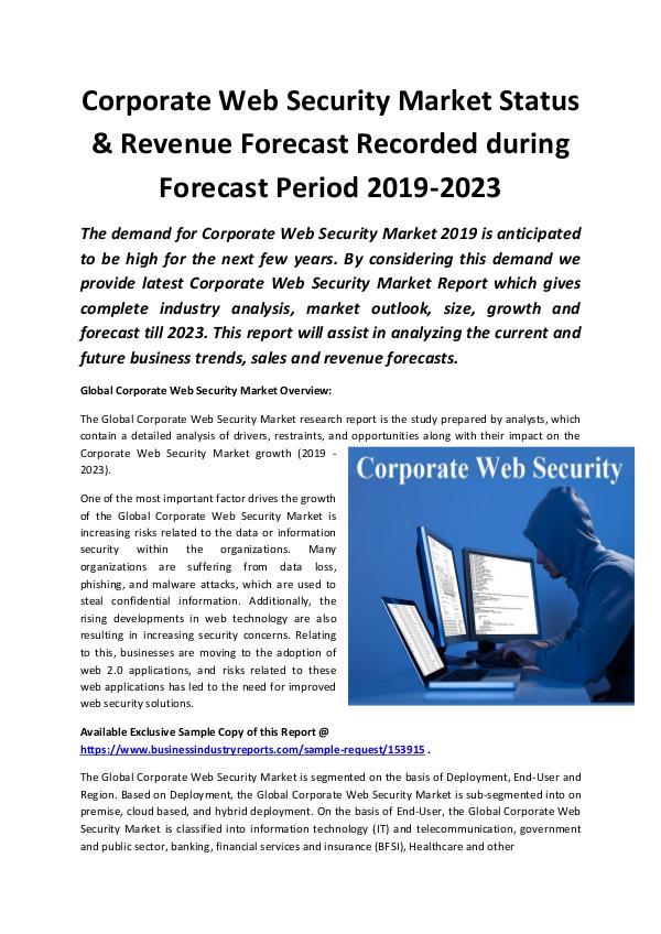 Global Corporate Web Security Market 2019