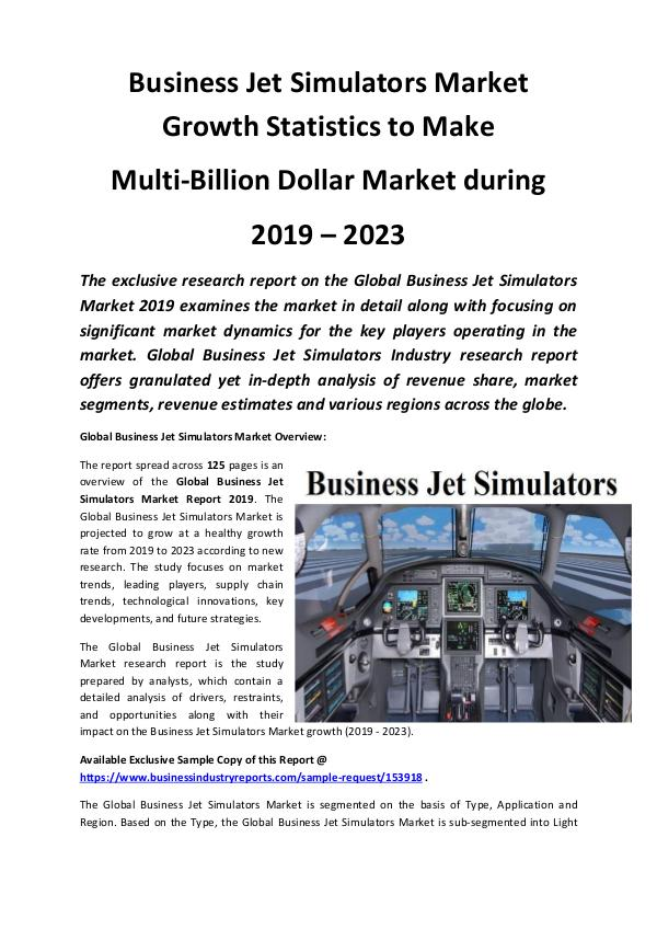 Business jet Simulators Market Size, Share, Develo