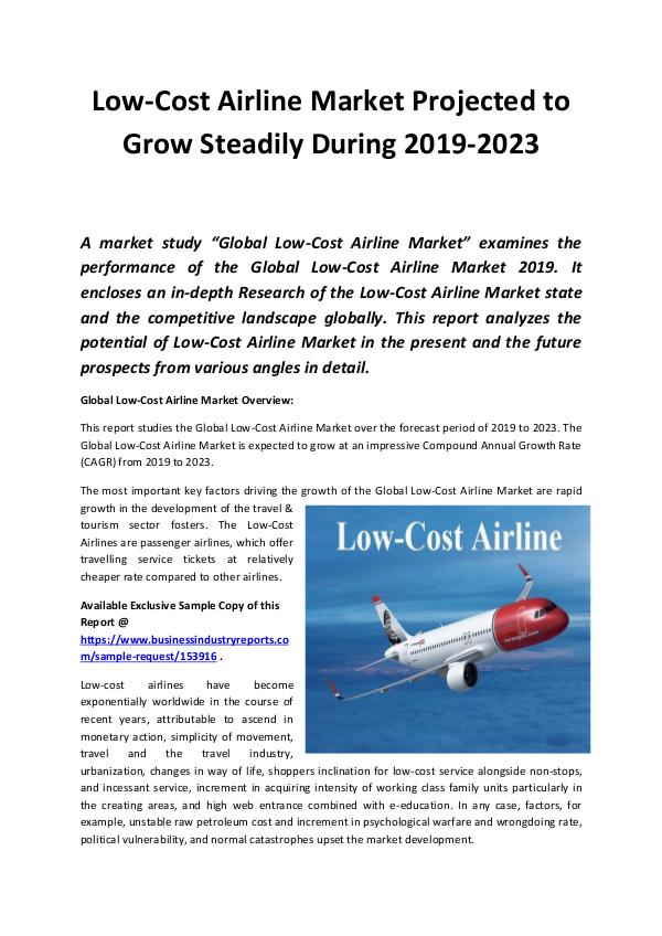 Global Low Cost  Airline Market 2019