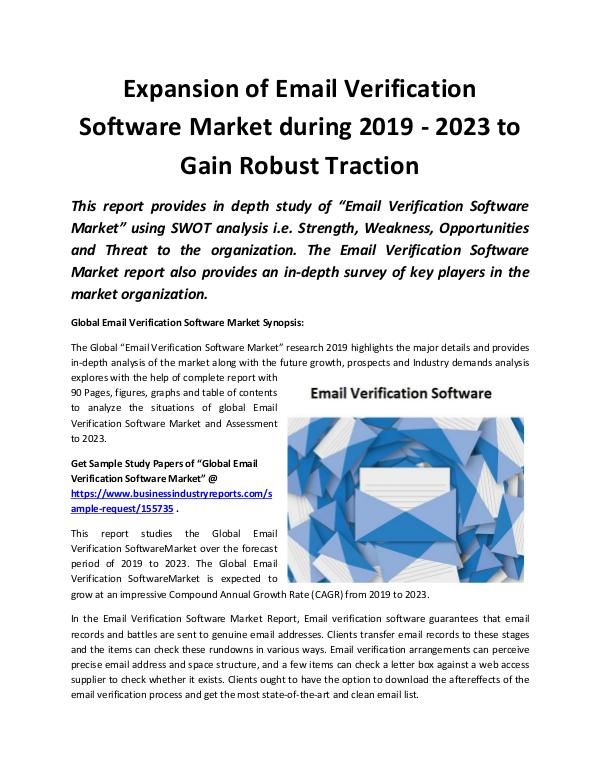 Global Email Verification Software Market 2019