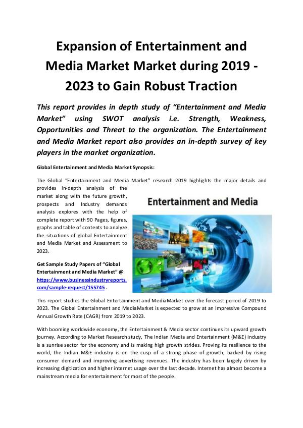 Global Expansion of Entertainment and Media Market