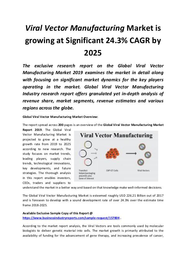 Global Viral Vector Manufacturing Market 2019