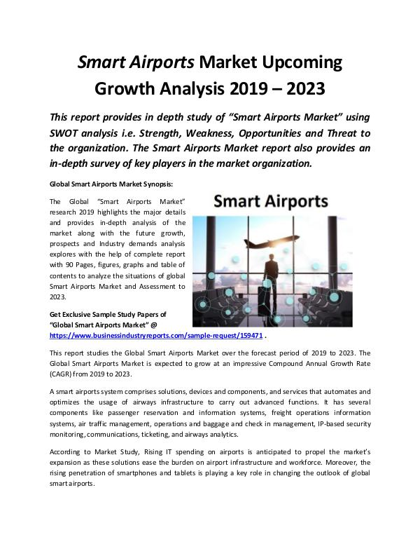 Global Smart Airports Market Growth Analysis 2019
