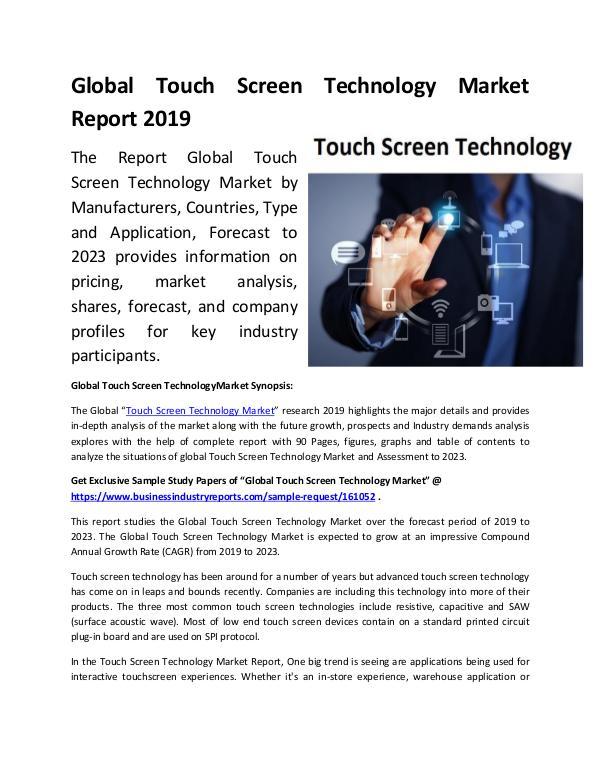 Global Touch Screen Technology Market Report 2019