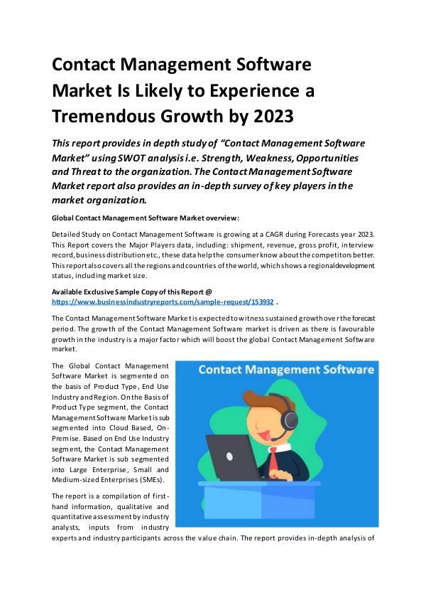 Global Contact Management Software Market Report 2