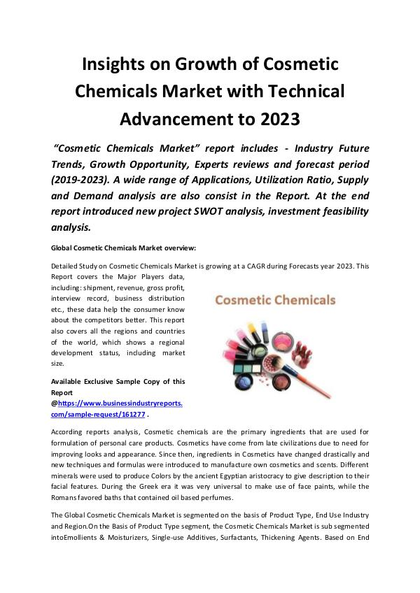 Global Cosmetic Chemicals Market 2019