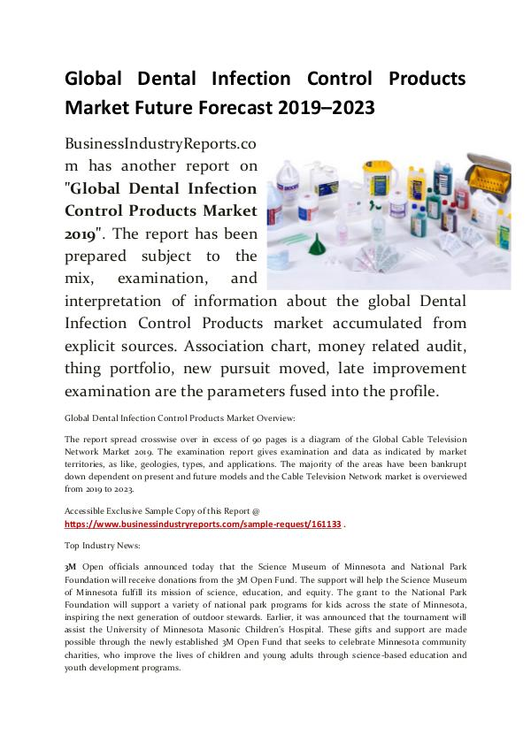 Dental Infection Control Products Market 2019