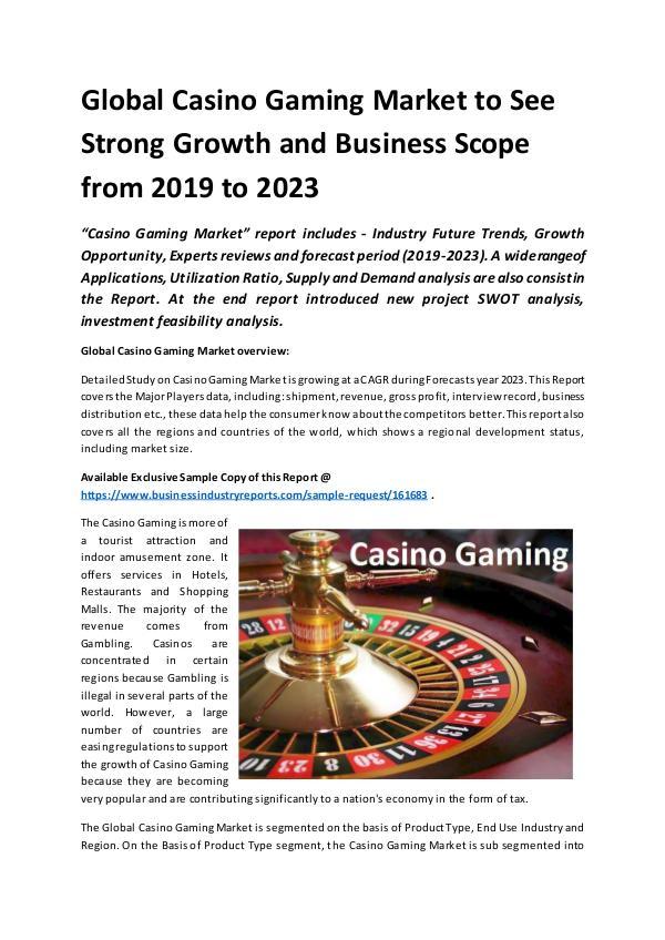 Global Casino Gaming Market Report 2019