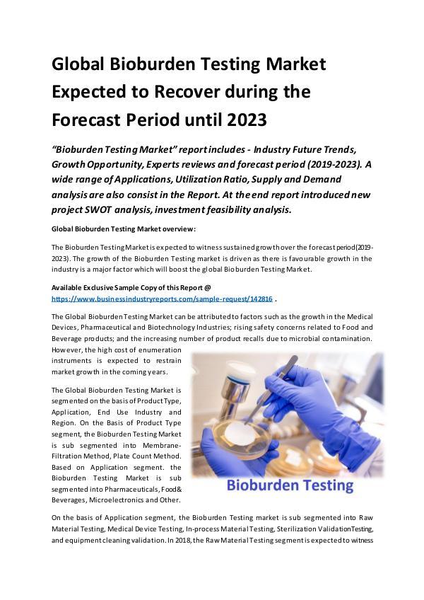 Global Bioburden Testing Market 2019 – 2023