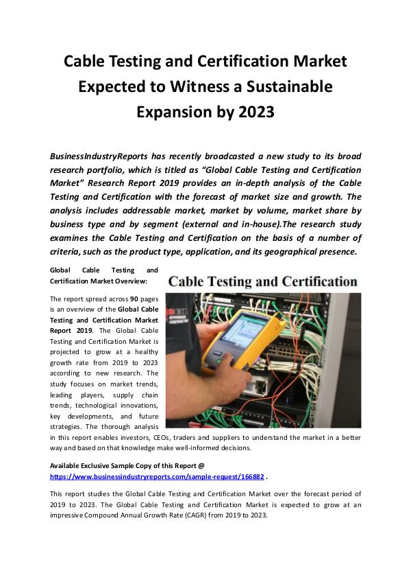 Global Cable Testing and Certification Market Repo