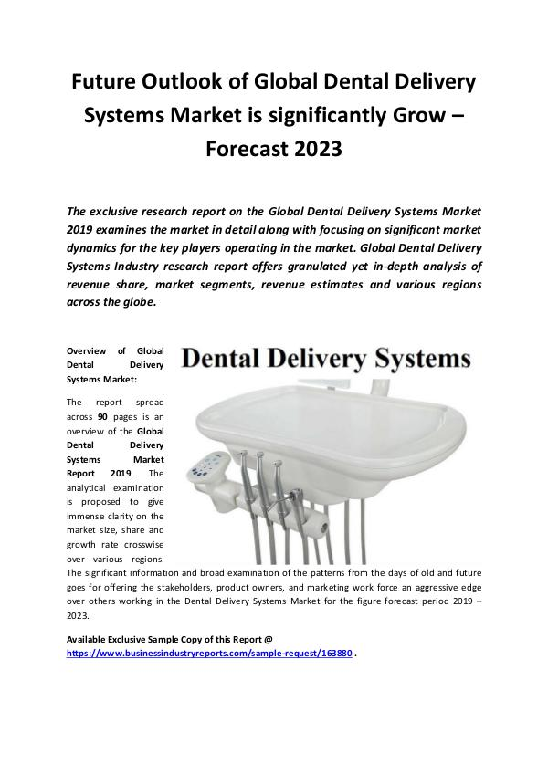 Global Dental Delivery Systems Market Report 2019