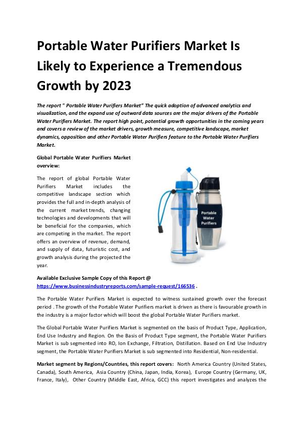 Global Portable Water Purifiers Market Report 2019