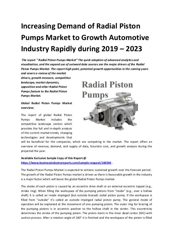 Global Radial Piston Pumps Market Report 2019