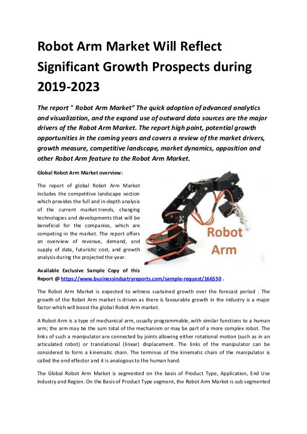 Global Robot Arm Market Report 2019