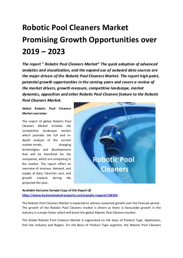 Global Robotic Pool Cleaners Market Report 2019