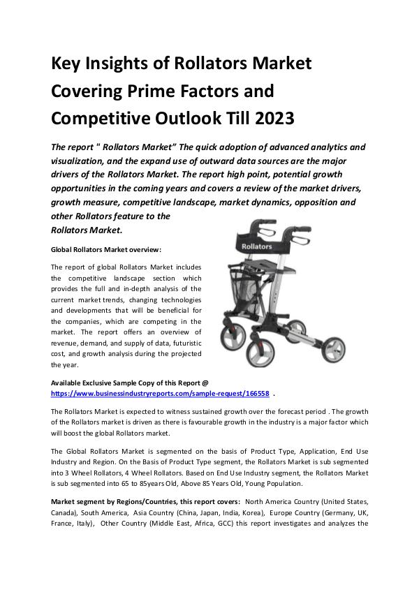 Global Rollators Market Report 2019