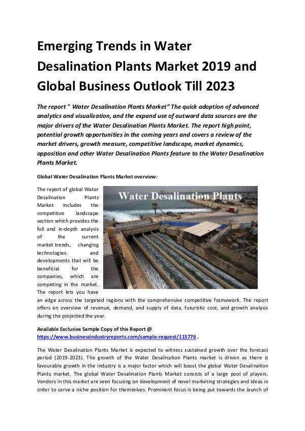 Global Water Desalination Plants Market Report 201
