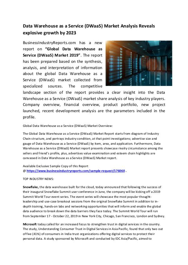 Data Warehouse as a Service (DWaaS) Market 2019
