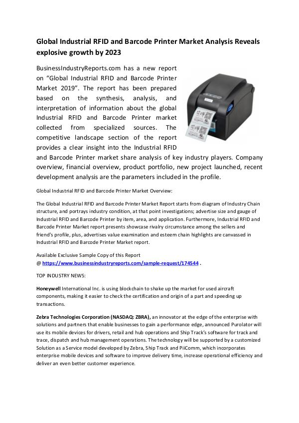 Industrial RFID and Barcode Printer Market 2019
