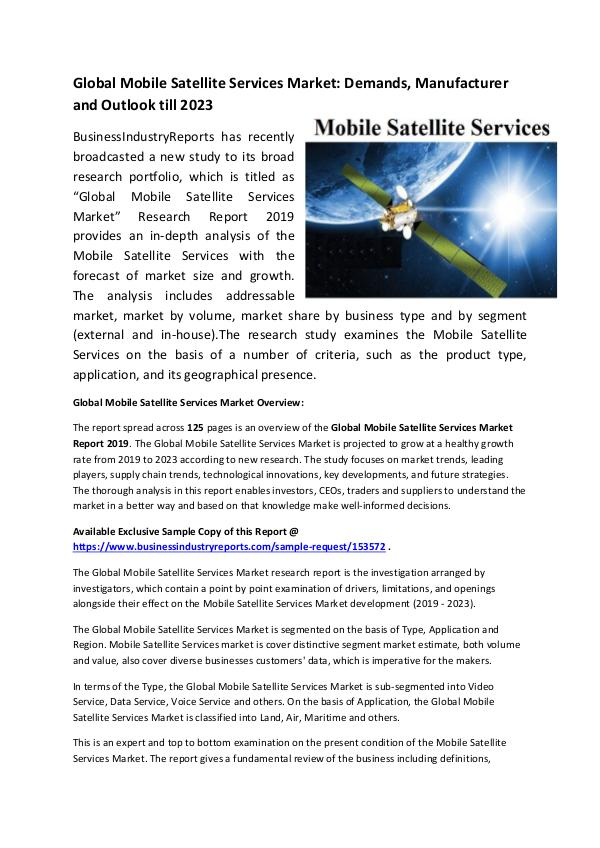 Global Mobile Satellite Services Market Report 201