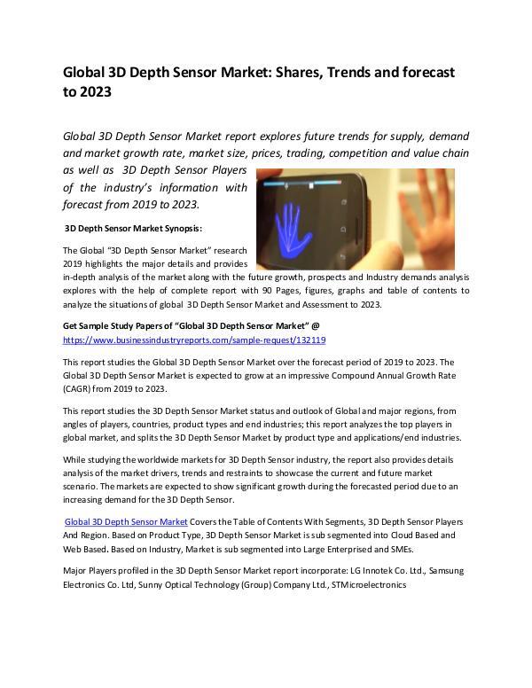 Market Research Reports Global 3D Depth Sensor Market