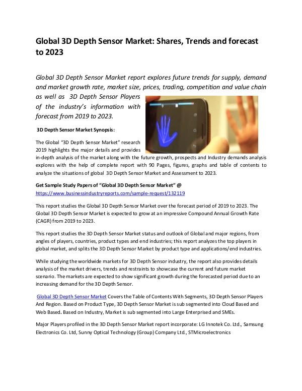 Global 3D Depth Sensor Market