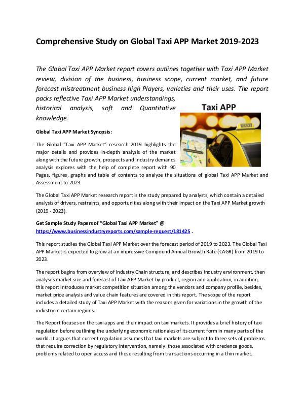 Global Taxi APP Market Report 2019