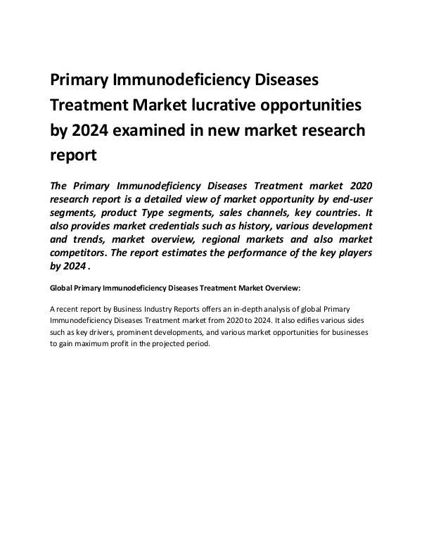 Global Primary Immunodeficiency Diseases Treatment