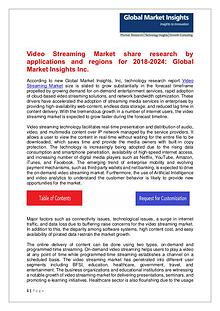 Video Streaming Market trends research and projections for 2018-2024
